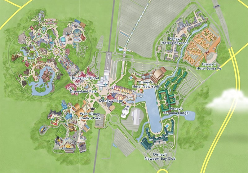 carte hôtels disneyland paris