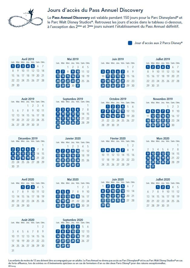 calendrier jour acces pass discovery