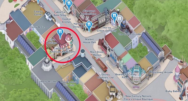plan du Walt's an american restaurant Disney