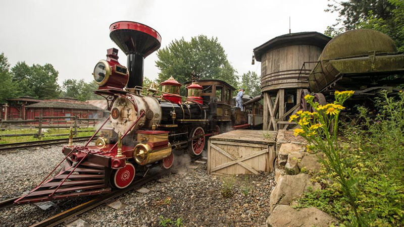 le train Disneyland à une station