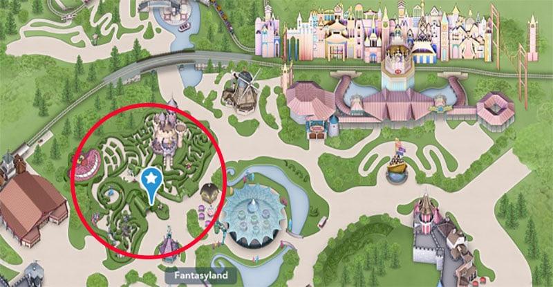 emplacement du labyrinthe d'Alice au pays des merveilles